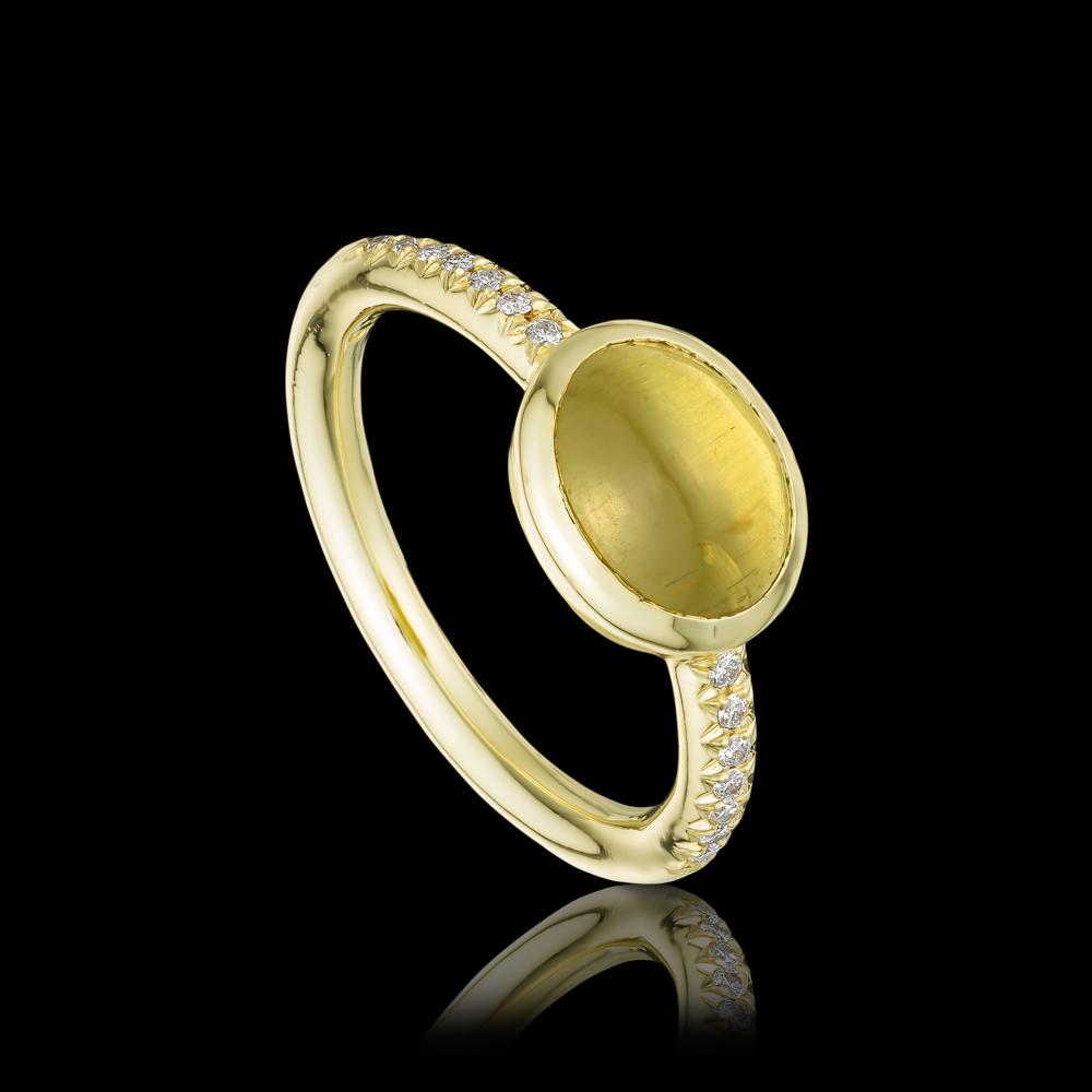 טבעת בזהב צהוב K14 משובצת סיטרין ויהלומים