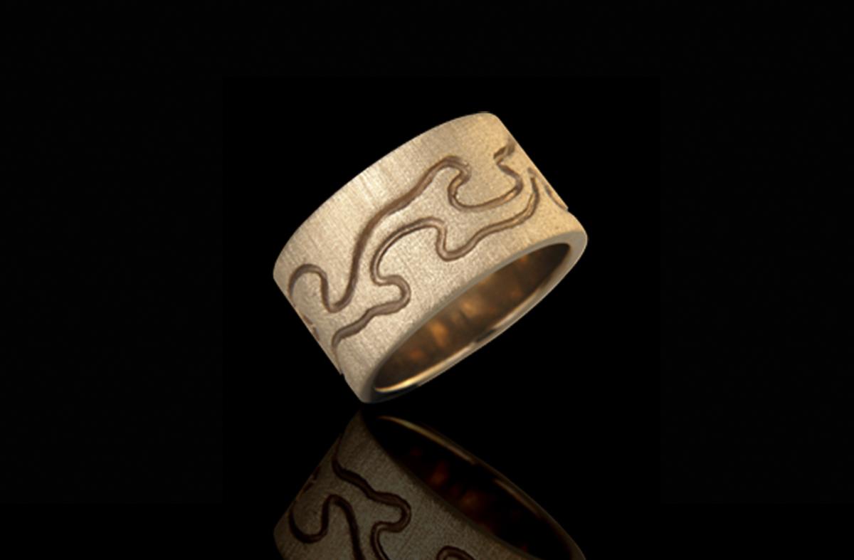 טבעת נישואים בזהב צהוב 14K