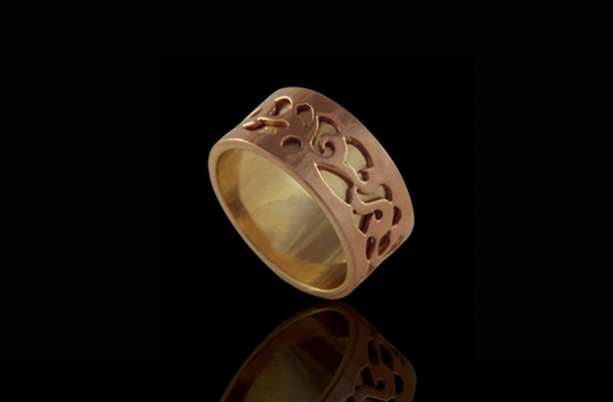 טבעת נישואים בזהב אדום וצהוב 14K
