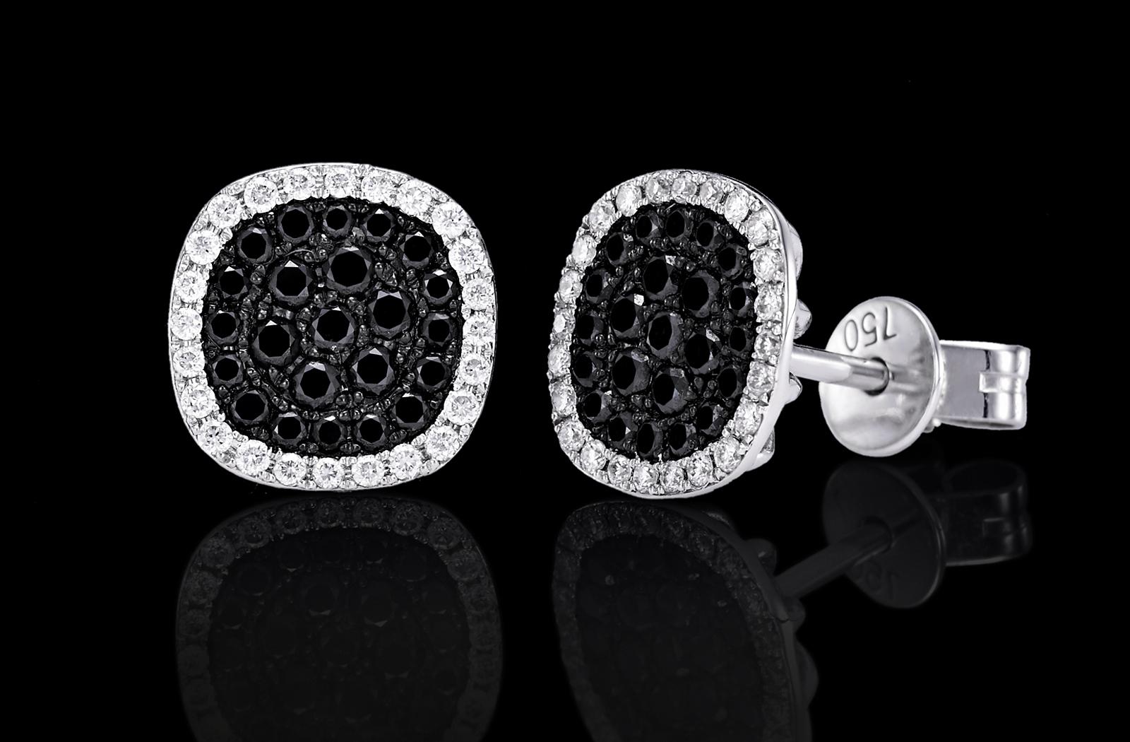 עגילים בזהב לבן 18K משובצים יהלומים שחורים ולבנים