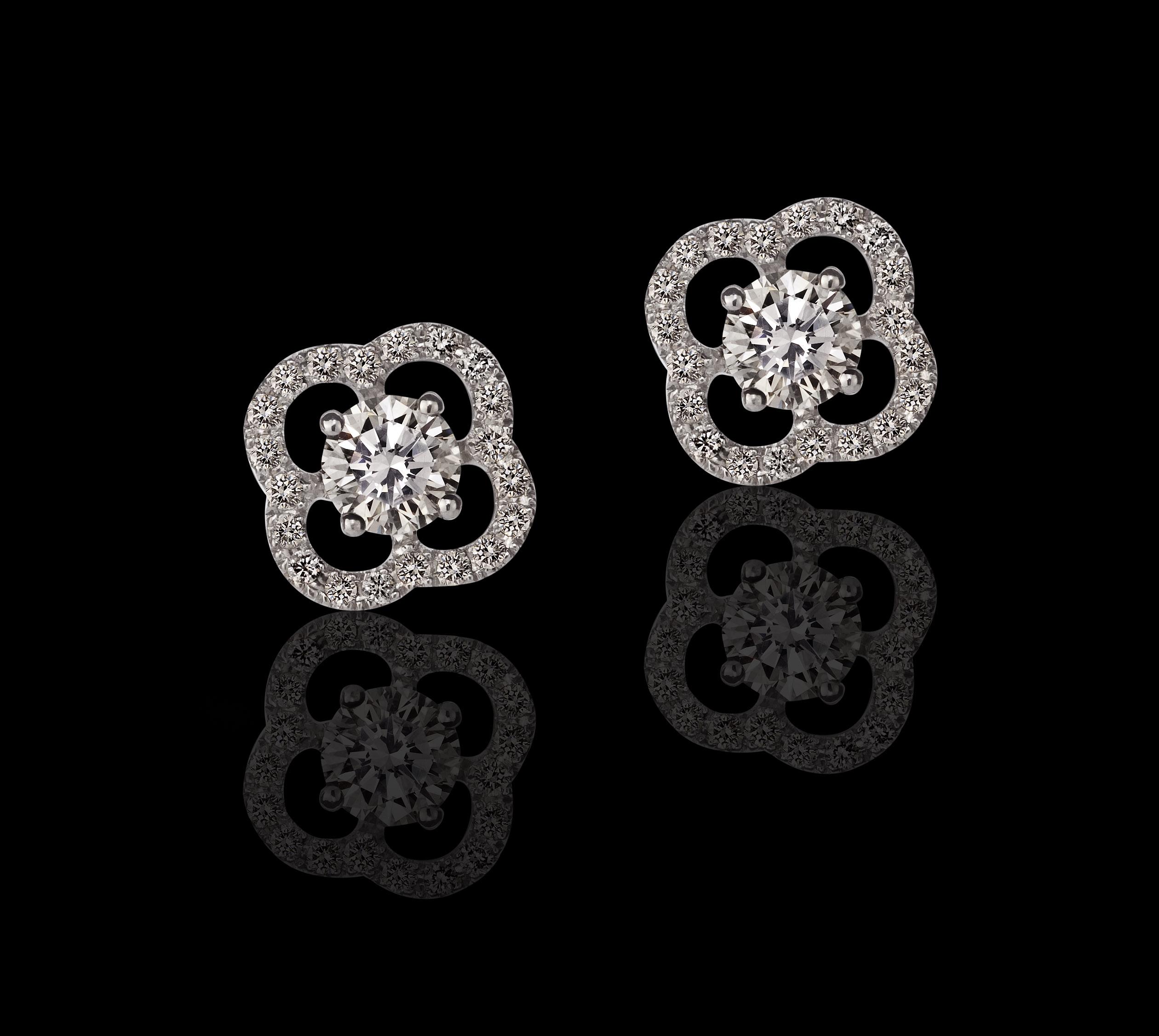 עגילי יהלומים בזהב לבן 14K