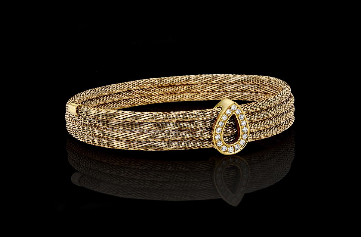 צמיד בזהב צהוב 18Kעם טיפת זהב משובצת יהלומים