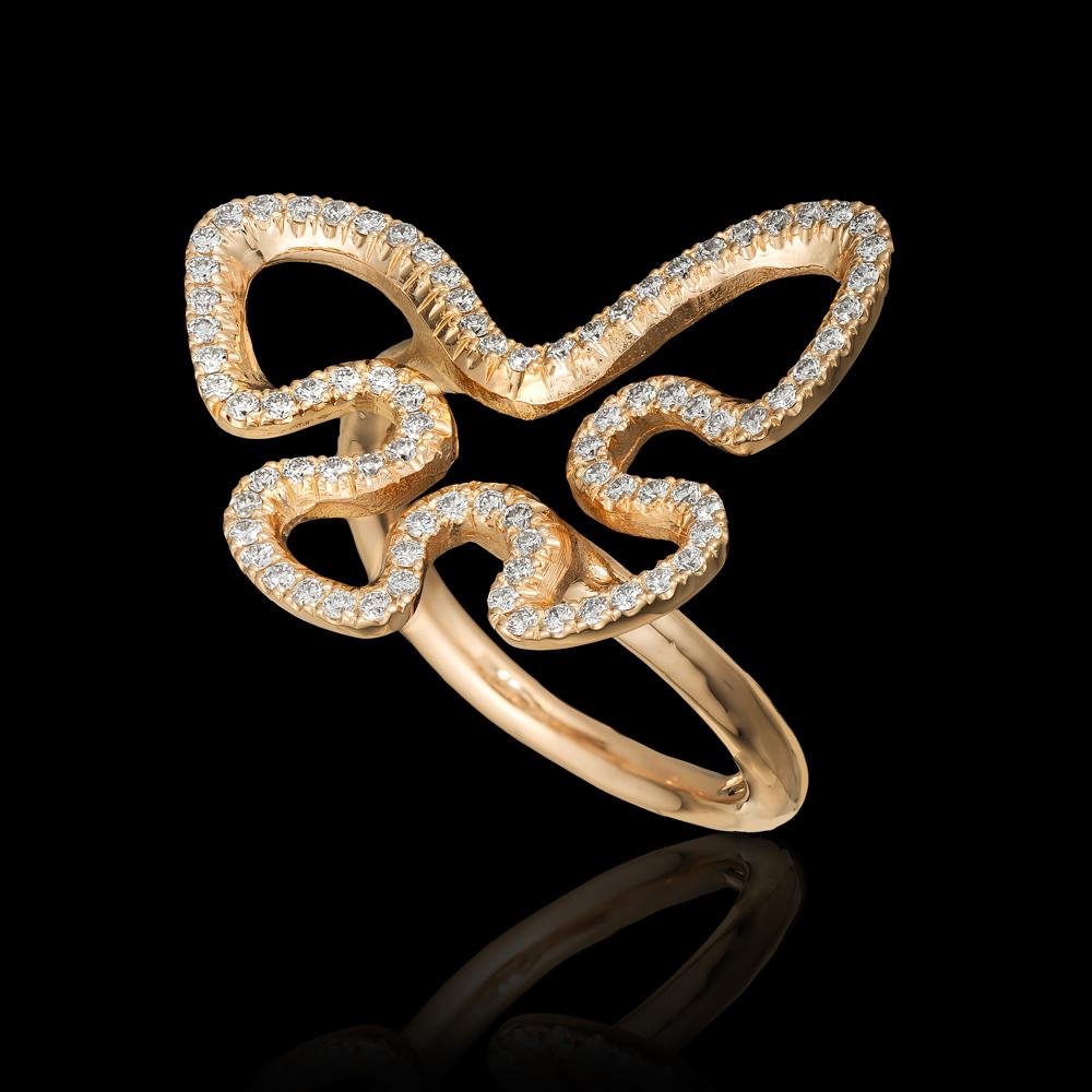 טבעת פרפר בזהב אדום 14K משובצת יהלומים