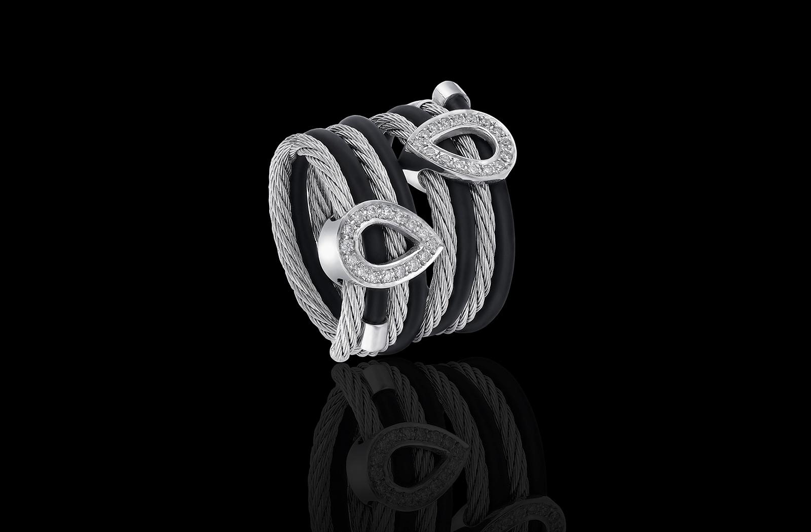 טבעת בזהב לבן 18K המשלבת סיליקון שחור וטיפות זהב המשובצות יהלומים