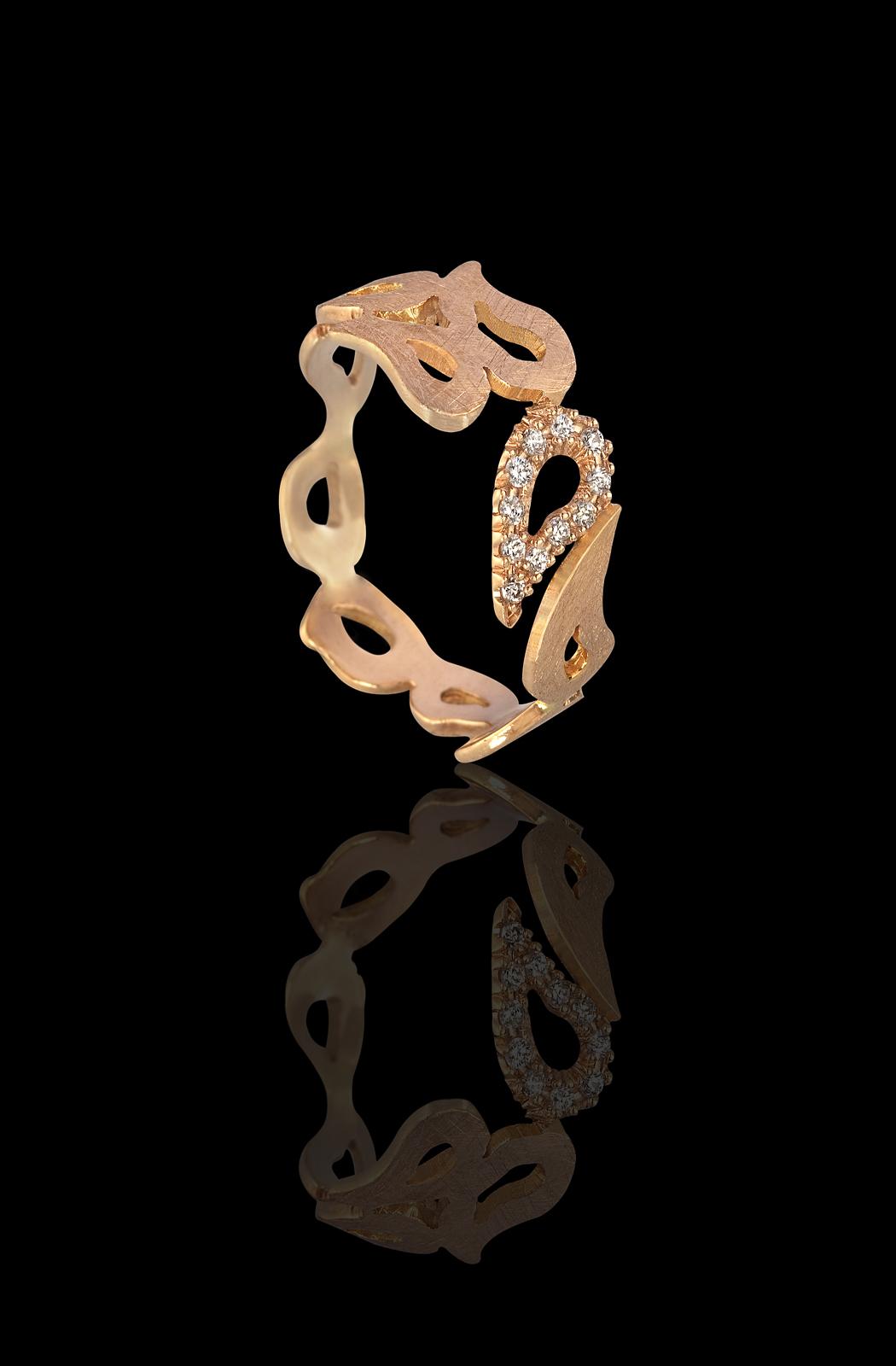 טבעת עשויה טיפות זהב צהוב 18K בשיבוץ יהלומים