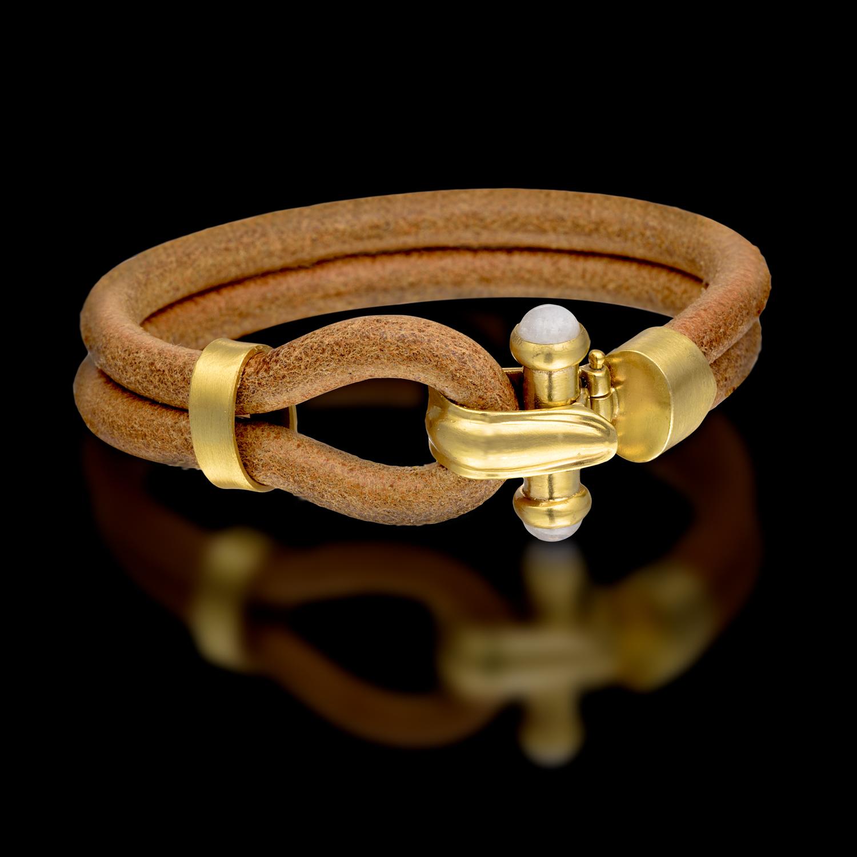 צמיד עור בשילוב זהב צהוב 14K משובץ ריינבו מונסטון